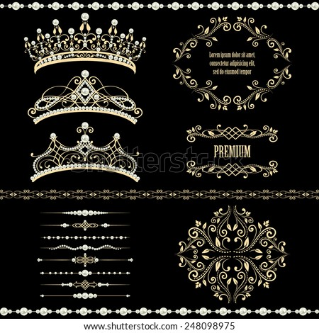 Royal design elements, vintage frames with dividers, borders, pearls and diadems in golden beige. Raster copy on black background. could be used for birthday card, wedding invitations.  - stock photo