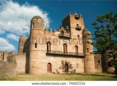royal ethiopian castle in gonder gondar ethiopia - stock photo