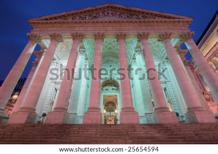 Royal Exchange building in the financial district, London, England - stock photo