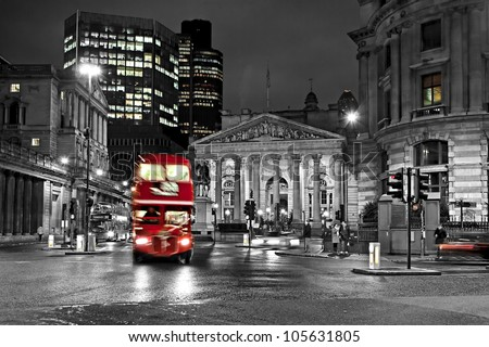 Royal Exchange London With Red Route master Bus - stock photo