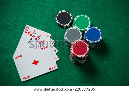 Royal Flash On The Green Background - stock photo