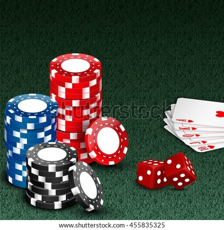 Royal flash with chips and dice on green - stock photo