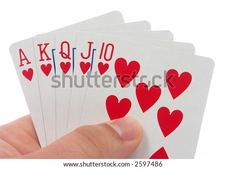 Royal flush isolated on white background. - stock photo
