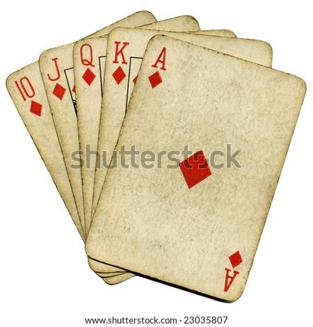 Royal flush old vintage poker cards isolated over white. - stock photo