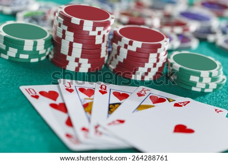 Royal Flush On The Green Background  - stock photo