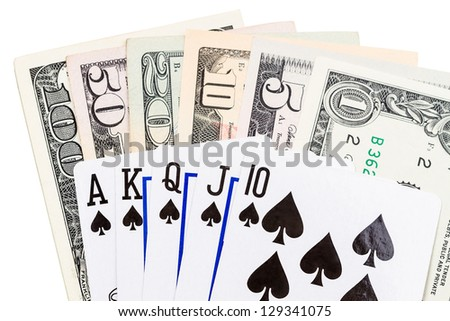 Royal flush paper currency  and playing cards