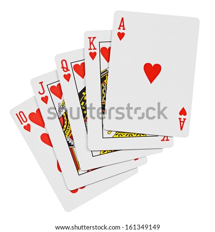 Royal flush. Playing cards isolated on a white background  - stock photo
