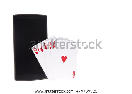 Royal flush poker hand with a smart phone