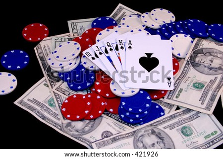 Royal Flush - Spades - stock photo