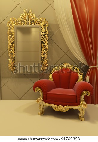 Royal  furniture in a luxurious interior - stock photo