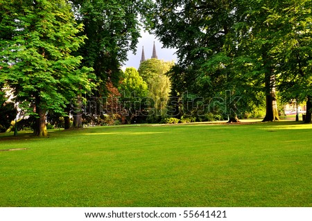Royal Garden in Prague with two towers of St. Vitus Cathedral - stock photo