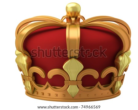 Royal gold crown isolated on a white background - stock photo