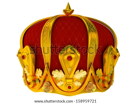 Royal gold crown isolated on a white background 3d - stock photo