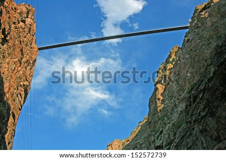Royal Gorge Bridge - view from the bottom of the canyon - stock photo