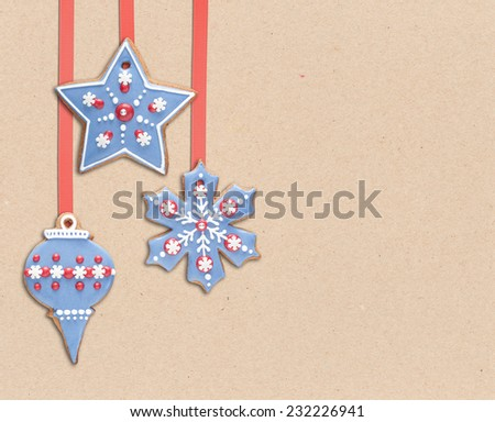 Royal icing decorated gingerbread cookies. Vintage Christmas background. - stock photo