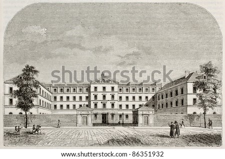 Royal Institution for blind youth building in Paris. By unidentified author, published on Magasin Pittoresque, Paris, 1843 - stock photo