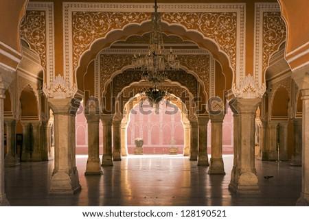 royal interior in Jaipur palace, India - stock photo