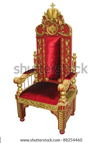 Royal king red and golden throne chair isolated over white - stock photo