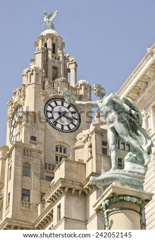 Royal Liver Building (opened 1911) in Liverpool, England - stock photo