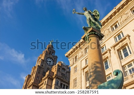 Royal Liver Building, Pier Head, Liverpool, England. - stock photo