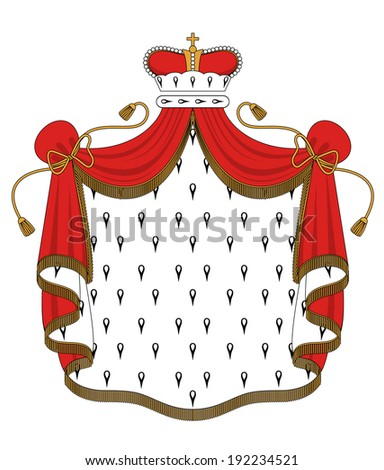Royal mantle with crown for heraldry design. Vector version also available in gallery - stock photo