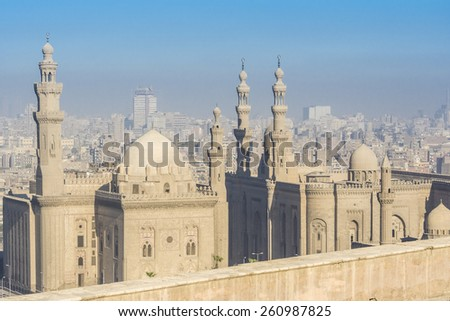 Royal Mosque and Mosque-Madrassa of Sultan Hassan, Cairo. Egypt  - stock photo