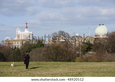 Royal Observatory, Greenwich, London, UK. Left: Altazimuth Pavilion, Flamsteed House, with red time ball on top. Centre: Meridian Building. Right: Great Equatorial Building, with 28-inch Telescope - stock photo