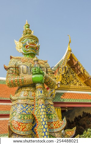 Royal Palace complex in Bangkok, Thailand - statue - stock photo