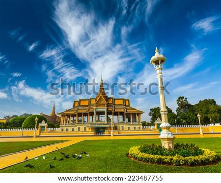 Royal Palace complex, Phnom Penh, Cambodia - stock photo