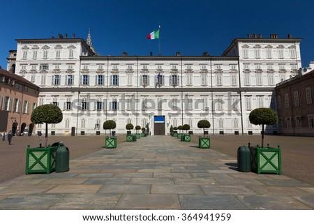 Royal Palace facade, Turin symbol - stock photo