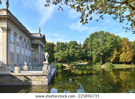 Royal Palace in Lazienki in Warsaw. North facade view. Autumn season time. - stock photo