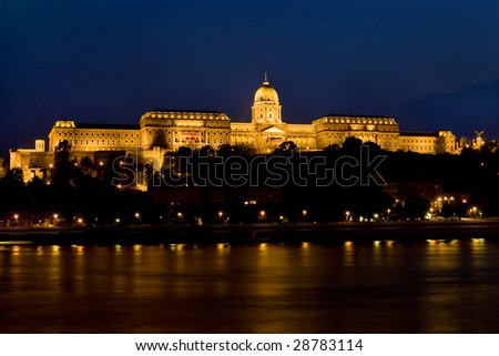 Royal Palace of Buda, Budapest - at night - stock photo