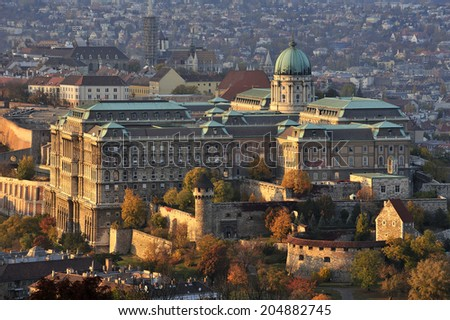 Royal Palace of Budapest (Buda Castle), historical castle and palace complex of the Hungarian kings in Budapest - stock photo