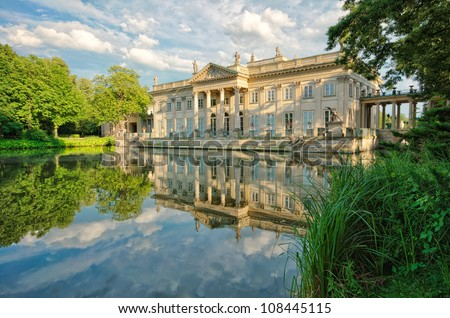 Royal Palace on the Water in Lazienki Park, Warsaw - stock photo