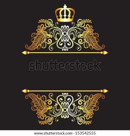 Royal pattern with crown  on dark background - stock photo