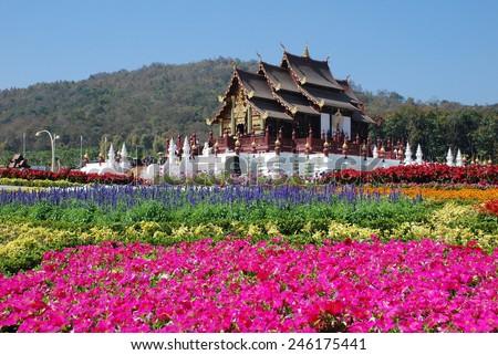 Royal Pavilion (Ho Kum Luang) at Royal Flora Expo, Chiang Mai, Thailand - stock photo