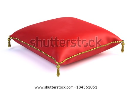 Royal red velvet pillow isolated on white - stock photo