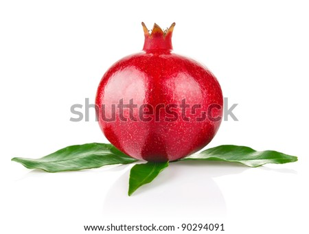 royal ripe pomegranate with green leaves isolated on white background - stock photo