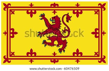 Royal Scottish standard or flag isolated on white background. - stock photo