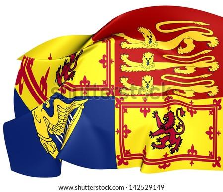 Royal Standard of United Kingdom (Scotland). Close Up. - stock photo