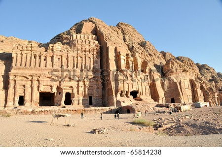 Royal tomb in Petra - stock photo