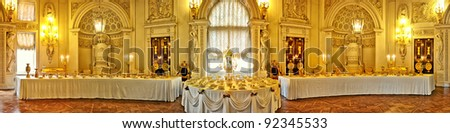 Royal vintage interior with big table panorama - stock photo