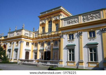 Royal Wilanow Palace in Warsaw - residence of King Jan III Sobieski - stock photo