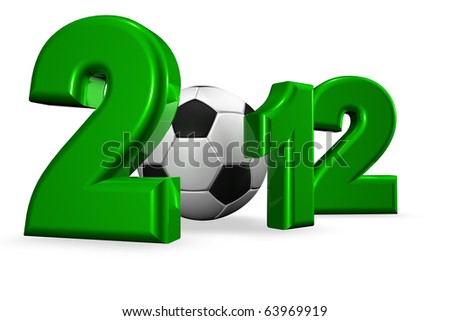 Royalty free stock image of a XXXL Large 3D render of the 2012, in green, isolated on white copy space. A soccer ball representing the number 0 in a conceptual manner for the European cup of 2012