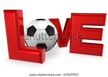 Royalty free stock image of a XXXL Large 3D render of the word love, in red, isolated on white copy space. A football representing the letter o in a conceptual manner suggests a love for soccer - stock photo