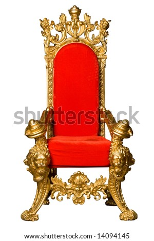 Royalty's Throne. Ornate. On White - stock photo