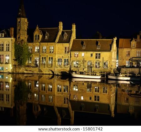 Rozenhoedkaai, one of the landmarks in Bruges - stock photo