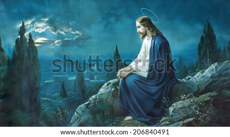 ROZNAVA, SLOVAKIA - JULY 21, 2014: The prayer of Jesus in the Gethsemane garden. Typical cahtolic printed image from the end of 19. cent.  - stock photo
