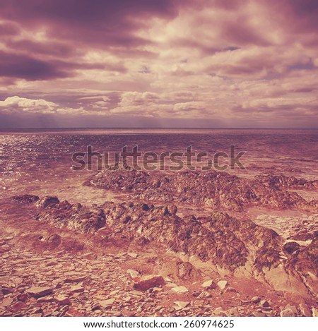 Rpple water wave in sea.Special toned photo in vintage style - stock photo