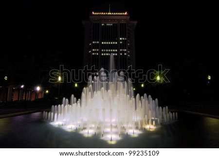 RSA Tower and fountain / Dancing Waters - stock photo